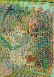 Brigita La_Ferns & Berries_ 70 x 50cm_acrylics, oil pastels on canvas_2016_$695 framed