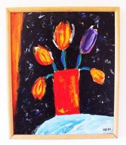 Ian Napier_Tulips II_ 60 x 50 oil on canvas framed_$850