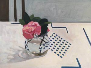 Jane-Frances Tannock_Dining Room Camelias II_40.5 x 30cm_oil on board_$670