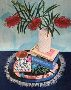 Melanie Vugich_Bottle Brush, 2 Books and Greek objects_60 x 80 cm_$1250