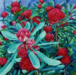 Sarah Waghorn_Budding Waratahs_50 x 50cm_oil on canvas board_$880