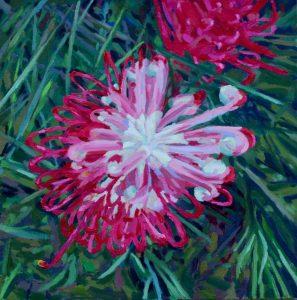 Sarah Waghorn_WAITING TO UNFURL_50 x 50cm_oil on canvas board_$880